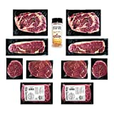 Aged Angus Filet Mignon, Top Sirloin, NY Strip, Ribeye, and Premium Ground Beef by Nebraska Star Beef - Prestige - Hand Cut and Trimmed - Steak Gift Package, Includes Signature Seasoning