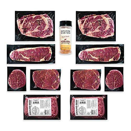Aged Angus Filet Mignon, Top Sirloin, NY Strip, Ribeye, and Premium Ground Beef by Nebraska Star Beef – Prestige – Hand Cut and Trimmed – Steak Gift Package, Includes Signature Seasoning