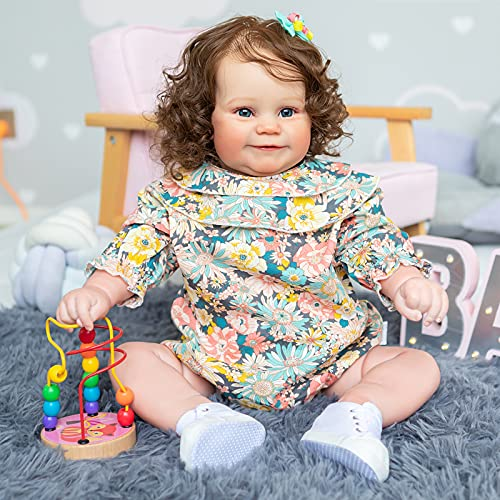 Reborn Toddler Girl Dolls 24 inch 60cm Silicone Baby Doll with Brown Hair Weighted Body Looks and Feels Real