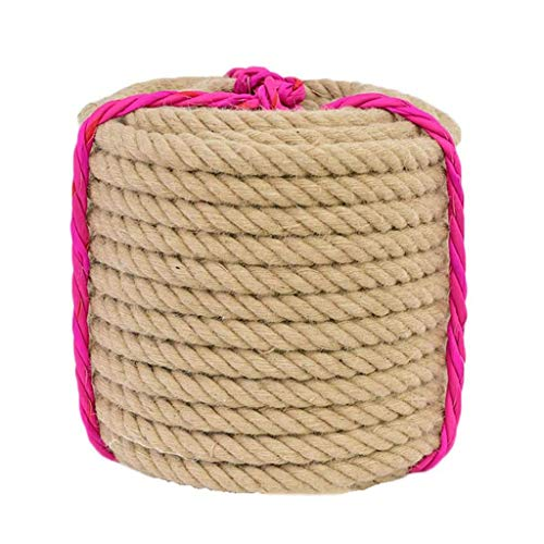 Hemp Rope 5/6/8/12Mm Strong Natural Rope Sturdy Jute Belt Camping Garden Boating Tug of War Competition Pet Climbing 50M,5mm
