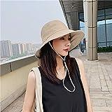 Sombrero de pescador verano femenino doble cara de algodón de corta longitud sombrero de viaje protector solar sombrero sombrero de sol-M (56-58 cm)_Beige