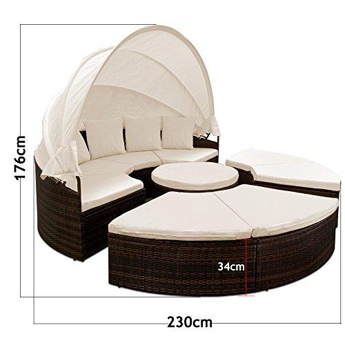 Sonneninsel Poly Rattan Ø230cm mit aufklappbarem Sonnendach Auflagen und Kissen Sonnenliege Poly Rattan Lounge