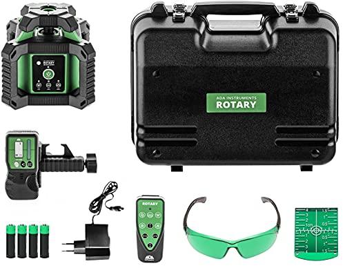 Láser giratorio ADA ROTARY 400 HV-G (hasta 400 m con receptor, baterías recargables, IP65, mando a distancia, maletín de mano)