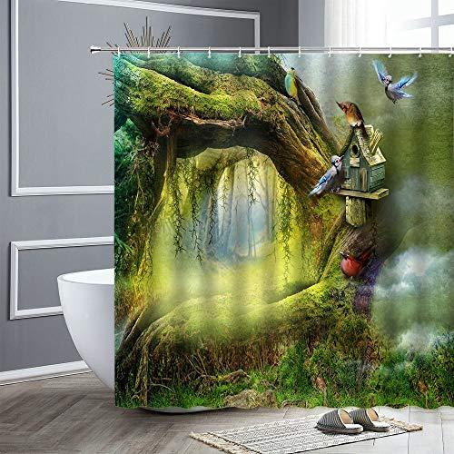 XCBN Fantasie Wald Duschvorhang Cartoon Vogel Schmetterling Eule Grün Pflanzenlandschaft wasserdichte Duschvorhang Dekoration A11 180x200cm