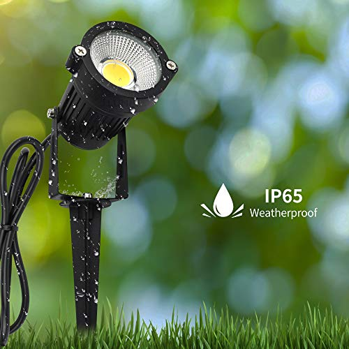 J.LUMI GSS6005 Outdoor LED Spotlights 5W, 120V AC, 3000K Warm White, Outdoor Use, Metal Ground Stake, Flag Light, Outdoor Spotlight with Stake, UL Cord 3-ft with Plug (Pack of 2)