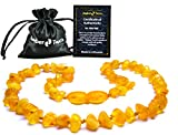 Best Baltic Amber Teething Necklaces - Raw Baltic Amber Necklace (Unisex) 13 inch. Unpolished Review
