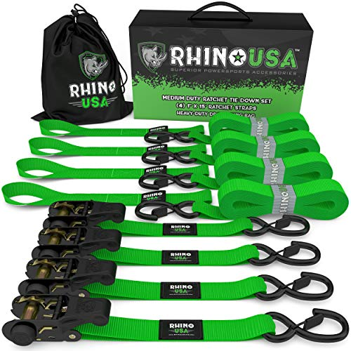 RHINO USA Ratchet Tie Down Straps (4PK) – 1,823lb Guaranteed Max Break Strength, Includes (4) Premium 1″ x 15′ Rachet Tie Downs with Padded Handles. Best for Moving, Securing Cargo (Green 4-Pack)