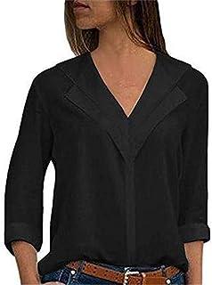 97439cd614fdf ITISME Femme Chemise Polyester Chic Manche Longue Casual Col V éLéGant  Bureau Femme Mode Tee Top