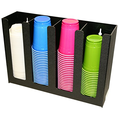 Organizer for Coffee Cups and Lids. This Handsome, 4 Column Holder Is Perfect for 3 Size Coffee Cups, with One Lid That Fits All Or Any Combination! Proudly Made in USA
