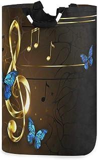 CaTaKu Panier à linge musical rétro pour piano et papillon, grande boîte de rangement étanche facile à transporter pour do...
