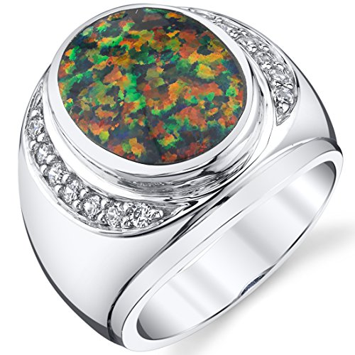 Men's Created Black Opal Godfather Ring Sterling Silver Size 10