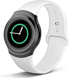 NAHAI Compatible with Gear S2 Band, Soft Silicone Straps Sport Bands Adjustable Replacement Wristband Watch Bracelet for Samsung Gear S2 Smartwatch, Large Small