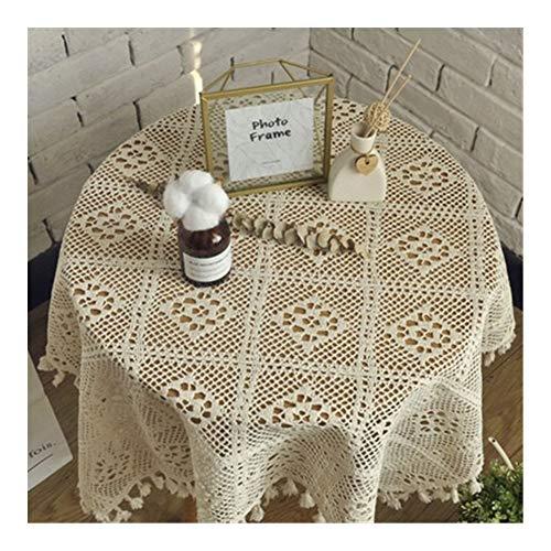 Macrame Wall Colgando Cubierta de mesa redonda Mantel hecho a mano del...