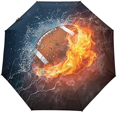 AOTISO American Football in Feuer und Wasser Tragbarer winddichter regensicherer Sonnenschutz 3-Fach automatisch öffnender geschlossener Regenschirm