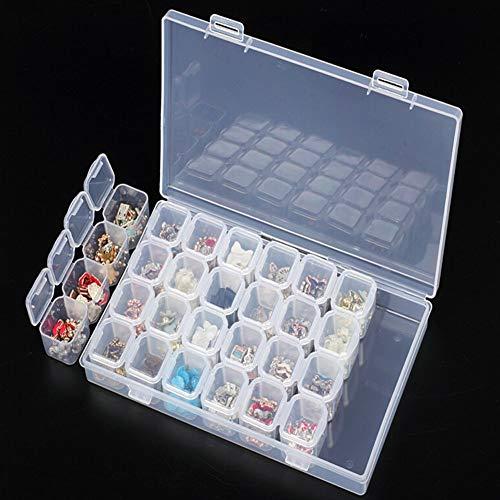 RILLATEK 28 Gridos de plástico Caja de Almacenamiento Organizador Mostrar Caja de Recipiente para 5d Diamond Art Projects Jewelry Beads Nail Art Rhinestone Diamonds Pendientes Collar Cosmetic Tablets