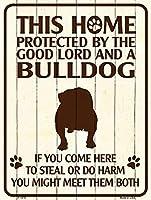 Smart Blonde ビンテージ風 英語版 おしゃれな 猛犬注意の看板 プレート 犬がいます 屋外OK 錆びないアルミ製 (ミニ (11.5x15cm), ブルドッグ)