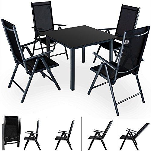 Deuba - Salon de Jardin 5 pièces Bern Noir - 1 Table avec Plateau en Verre, 4 chaises - Aluminium Dossiers Hauts inclinables - Ensemble de Jardin 4+1