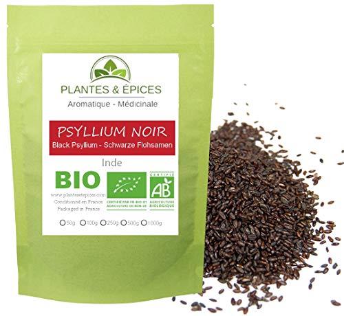 Plantes & Epices - Graines de psyllium BIO noires brunes et entières, 100% pures, très riches en fibres (250g)