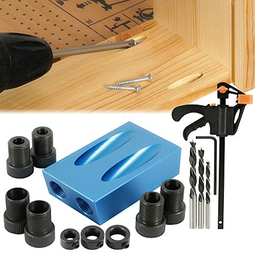 14Pcs Pocket Hole Jig,15 Degree Bit Angle Drive Carpentry Locator Craft for Woodworking Angle Drilling Guide (#1)