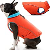 Gooby Sports Dog Vest - Orange, Large - Fleece Lined Dog Jacket Coat with D Ring Leash - Reflective Vest Small Dog Sweater, Hook and Loop Closure - Dog Clothes for Small Dogs Indoor and Outdoor Use