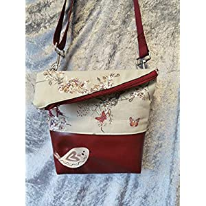 Ausgefallene Damen-Handtasche – Foldover – Bordeaux-Beautiful Birds Neu
