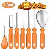 Lachesis Halloween Zucca Intaglio Kit, Halloween Pumpkin Carving Tools Kit 7 Pezzi, Acciaio Inossidabile Resistente Pumpkin Carving Set