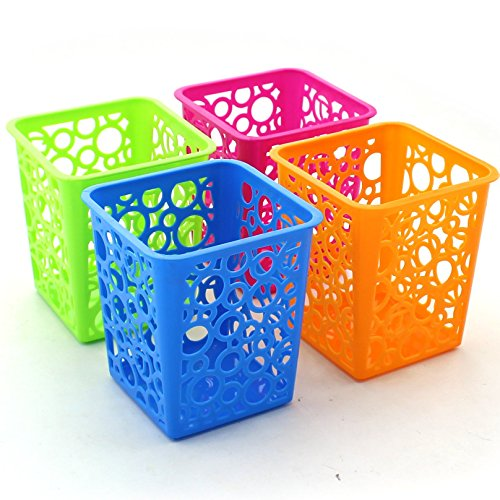 Z ZICOME Set of 4 Desktop Office Storage Organizer - Creative Round Hollow Flower Design Pen Pencil Holder Organizer Basket in 4 Bright Colors (Square)