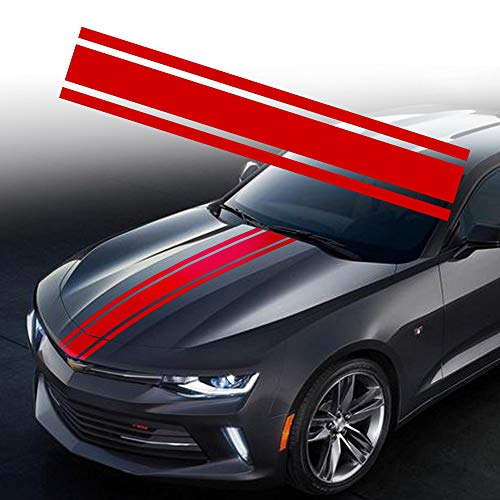 TOMALL 49'x 8.7' Car Hood Stripe Sticker Auto Racing Body Side Stripe Decal Skirt Roof Hood Bumper Stripe Decal Vinyl Modified Stripe Decal Decoration for Car (Red)