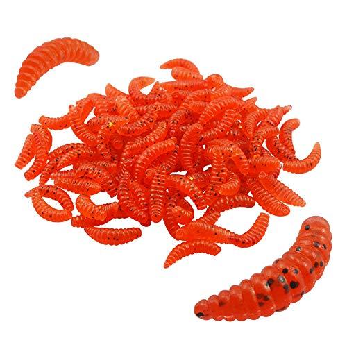 Senven Artificial lombriz, silicona suave biomimética Cebo lombriz Señuelos pesca lombriz Simulación Gusanos rojos plástico Ambiente verde Fuerte tentación Cebo Falso - Red Worm 100Pcs