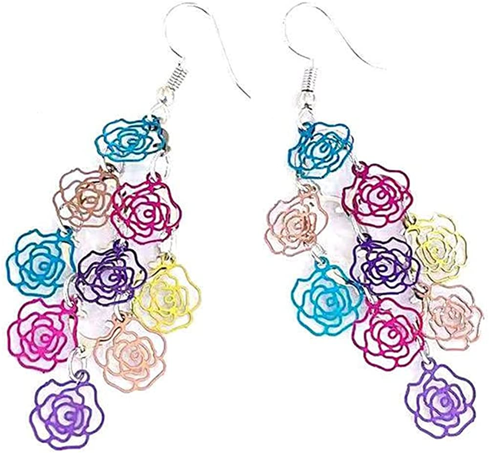 CHUNYANAN Chic Color Hollow Tassel Rose Drop Dangle Earrings Personality Fashionable Exaggerated Metal Earrings For Women Girls Jewelry Gift