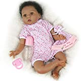 CHAREX Lifelike Reborn Baby Dolls Black Africa American 22inch Realistic Weighted Baby Girl Dolls Soft Baby Native American Doll Gifts/Toys for Kids Age 3+