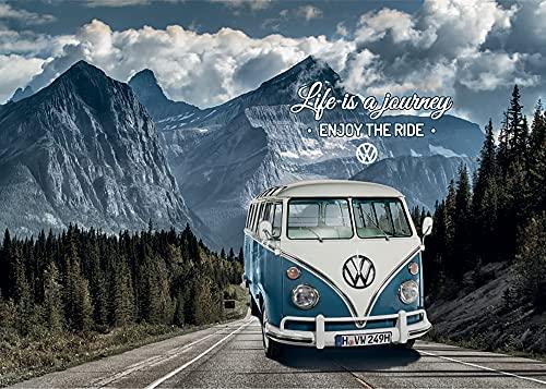 VW Volkswagen Fußmatte Motiv Bulli T1 Life Blau 50 cm x 70 cm Bus Campervan Schmutzfangmatte mit Rutschfester PVC Unterlage Fußabtreter Sauberlaufmatte Fußabstreifer Außen und Innen pflegeleicht