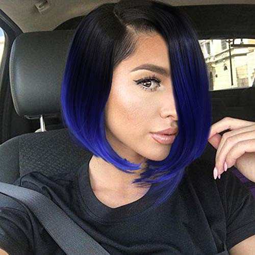 Quick Wig Short Bob Wig Ombre Wig Black to Blue Side Part Cosplay Party Wig 14 inches Bowl Cut Wig Heat Resistant Fiber Synthetic Wigs for Women Sapphire Blue