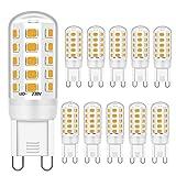 G9 LED leuchtmittel 3W Entspricht 28W 33W 40W Halogenbirnen, G9 LED Lampen Warmweiß 3000K, G9 Glühbirne, G9 Fassung LED Lampen, Kein Flackern, Nicht dimmbar, 400lm, AC 220-240V,10er Pack