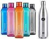 Cello Swift Steel Flask, 1 Litre, Silver & Cello Venice Plastic Bottle Set, 1 Litre, Set of 5, Assorted