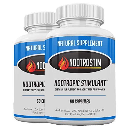 Nootro-Stim Twin Package- Nootropic Brain Supplements & Stimulants for Energy & Focus | Natural Cognitive Enhancer Pills as The Best Alpha Brain Wave Booster Nootropics- 120 Capsules
