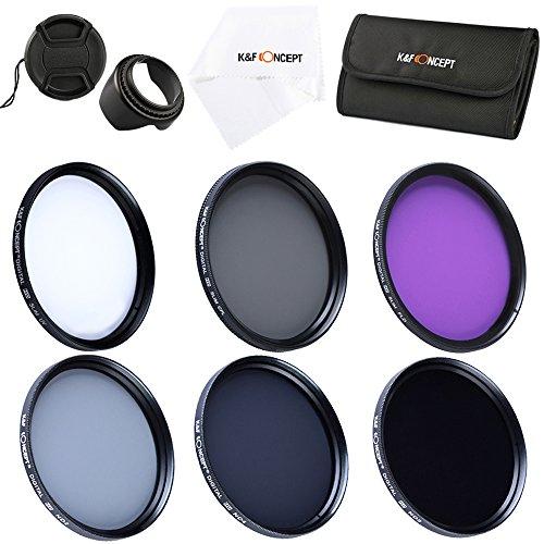 Filter Set 55mm K&F Concept® Objektiv Filterset 55mm,Filter Kit,Filter 55mm,ND2 ND4 ND8 UV CPL FLD Filterset,ND Filterset,UV Filterset,Schutzfilter 55mm,CPL Filter 55mm,FLD Filterset 55mm,Polfilter 55mm,FLD 55mm für Canon Nikon Sony Kamera mit Gegenlichtblende 55mm,Reinigungstuch,Filtertasche,Objektivdeckel