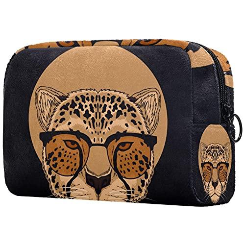 Bolsos de maquillaje de belleza portátil bolsa de cosméticos de viaje bolsa de cuero multifunción con cremallera bolsas de aseo para mujeres leopardo con gafas