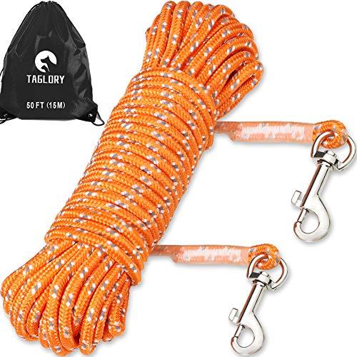 Taglory Schleppleine 15m für Hunde bis 20 kg mit 2 Karabinerhaken, Lange Seil Ausbildungsleine Leine für Welpen und Kleine Hunde, Orange