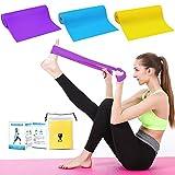 Photo Gallery plartree fascia elastica fitness, 3 pezzi bande elastiche fitness, fascia di resistenza a 3 livelli di forza per riabilitazione yoga pilates mascolazione