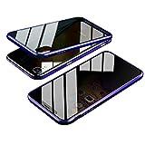 Jonwelsy Anti-Spy Cover per iPhone XR (6,1 Pollice), 360 Gradi Protezione Case, Privacy Vetro Temperato Anti Peep Custodia, Adsorbimento Magnetico Bumper Metallo Frame per iPhone XR (Blu)