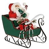 WeRChristmas Figurine de Père Noël avec Grand traineau Portant Un Habit Rouge/Vert 60cm