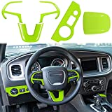 LAIKOU Steering Wheel Frame Decoration Trim & Headlight Switch Panel Sticker & Gear Shift Trim Knob cover Interior Accessories for 2015-2021 Dodge Charger/Challenger (Green)