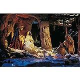 DQPCC Cuadro sobre Lienzo El Nacimiento de Jesús Pintura al óleo sobre Lienzo Carteles e Impresiones Navidad Religiosa Escandinava Imagen de Arte de Pared para Sala de Estar (50X70 CM)