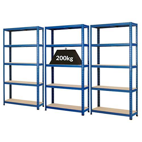 Certeo Mega Deal | Set aus 3x Schwerlastregal (Tiefe 30 cm) | Fachlast 200 kg pro Fachboden | Metallregal Kellerregal Lagerregal Werkstattregal Garagenregal |Belastbar mit 1000 kg
