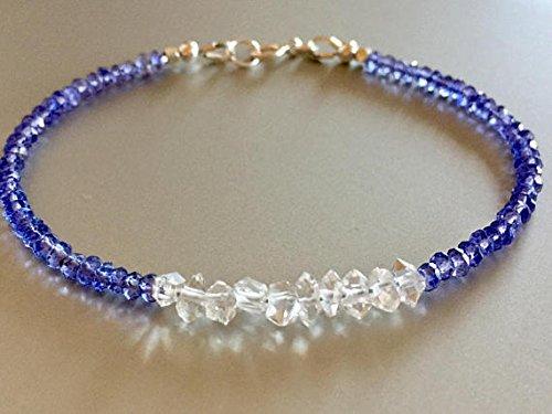 Tanzanite diamante braccialetto, Herkimer Diamond Style braccialetto, braccialetto di cristallo di quarzo, Dainty pietra preziosa, pietra di dicembre, nuziale, Sterling 2.5–3.5mm