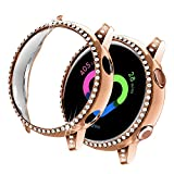 Yolovie Compatible with Samsung Galaxy Watch Active 1 Case 40mm, NOT for Active 2. PC Protective Cover Women Girl Bling Crystal Diamonds Shiny Rhinestone Bumper Watch Cases (Rose Gold)