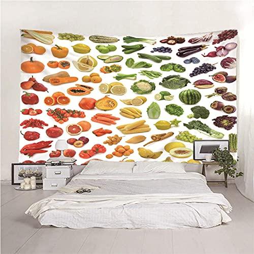 binghongcha Tapiz Frutas Y Vegetales 350X256Cm Tapices De Mandala, Sábana De Playa De Picnic, Mantel, Estampado Multicolor, Colgante De Pared Decorativo A756