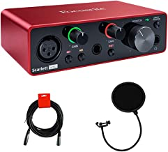 Focusrite Scarlett Solo USB Audio Interface (3rd Gen) with Pop Filter & XLR-XLR Cable Bundle