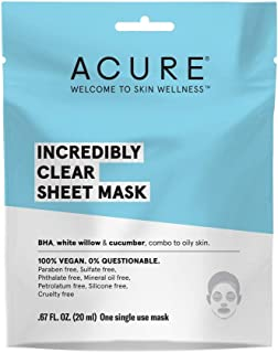 Acure, Mask Sheet Incredibly Clear, 0.676 Fl Oz